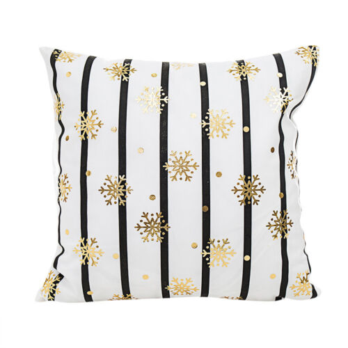 Joyeux Noël Feuille D/'Or Style taie d/'oreiller taille BACK HOME Throw Cushion Cover