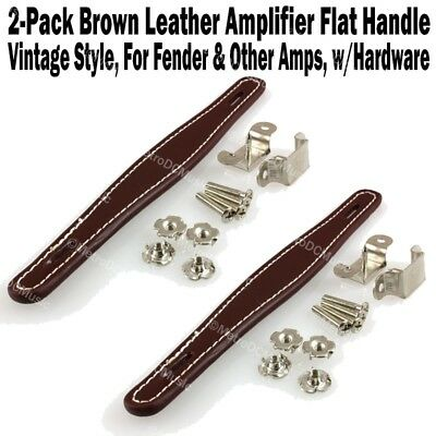 A Great Flat Brown and Black Genuine Leather Handle for Fender Amps And Others