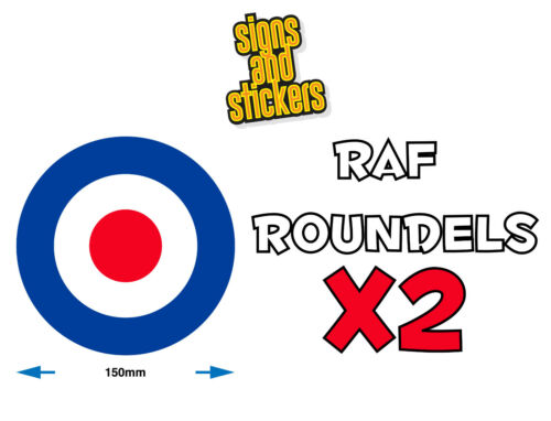 Top quality stickers decals RAF Roundels 150mm Diam van car scooter mods