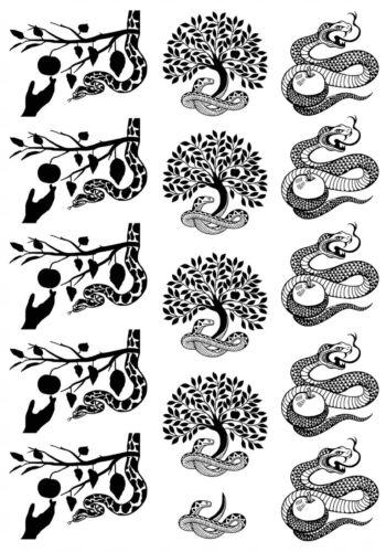 "Apple Tree Snake  1/"" X 1-1//4/""  15 pcs  5/""X3.5/"" Card Fused Glass Decals 18CC1012"