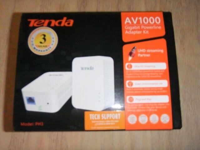 Tenda AV1000 1-Port Gigabit Powerline Adapter Up to 1000Mbps NEW FROM MFR PH3