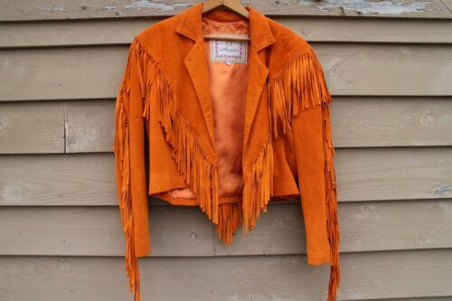 Vintage 70s 80s Orange Fringe Leather Jacket
