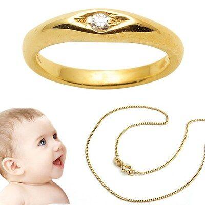Baby Taufe Diamant 0,01 ct Taufring Echt Gold 585 14 KT /& Kette Silber 925 verg.