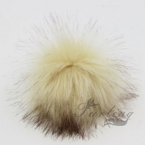 Multicolor Raccoon Fur Fluffy Pom Pom Ball with Snap Button Hat Accessories 11cm