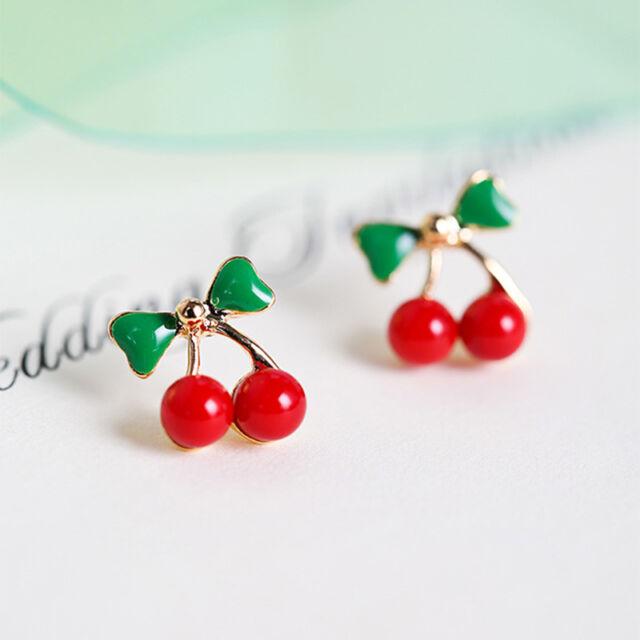 Women Red Cherry Ear Studs Green Bowknot Cherry Earrings Fruit Jewelry Sweet