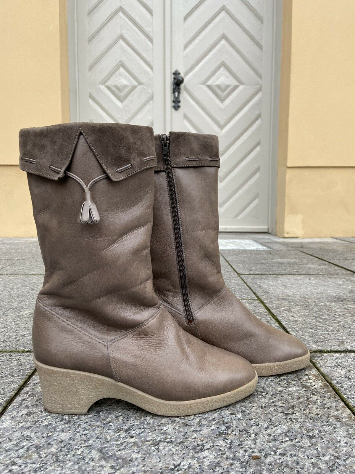 ARA Bottes D'Hiver Cuir ton de gris clair doublure 80er TRUE VINTAGE 80 s boots wedge