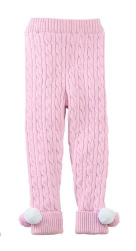 Mud Pie Kids Cable Knit Leggings Pants with Pom Poms Pink Color