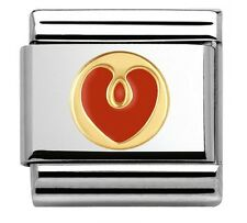 GOLD & RED LOVE HEART Genuine Nomination Classic Link Elegance Italian Charm