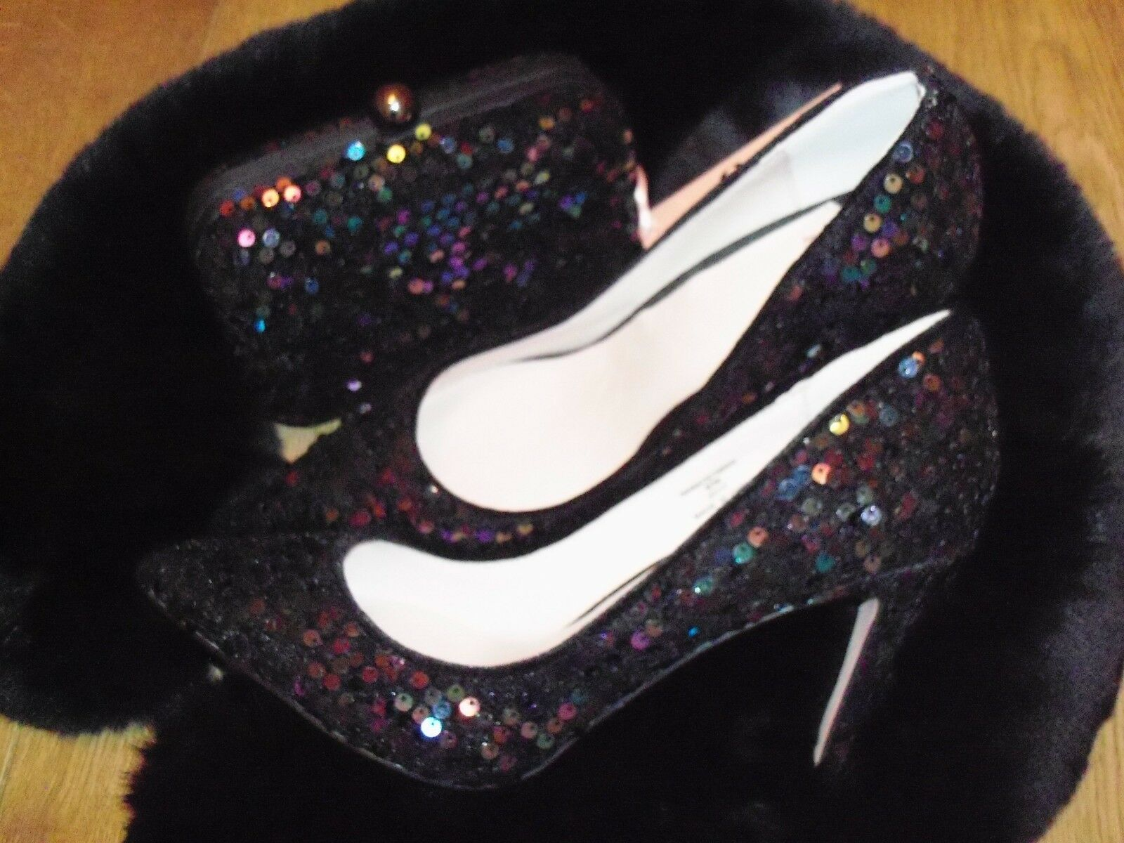 NEW FAITH Multicoloured Box Sequin Shoes & Co-ordinating Box Multicoloured Clutch Bag d60e9e