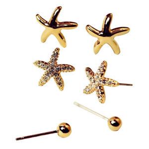 diseño de calidad 2e471 21db8 Detalles de 3Pcs/Conjunto Súper Adorable Estrella De Cristal/Estrellas De  Mar Mujer Aretes