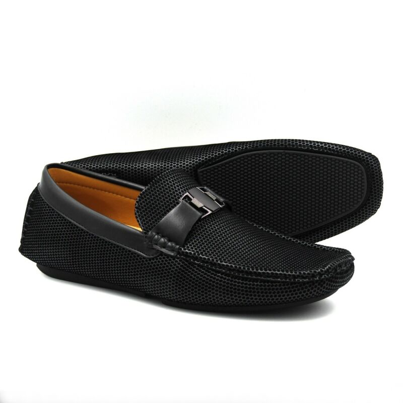 Brand New Men's Buckle Slip On Loafers Driving Shoes Ccc071 - Black