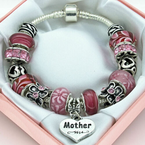 Womens Jewellery PERSONALISED Gifts Pink Bracelet Mum Daughter Sister Nana