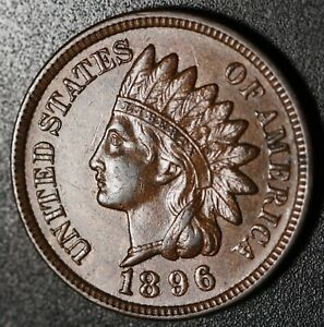 1896-INDIAN-HEAD-CENT-AU-UNC-With-REPUNCHED-DATE-SNOW-17-RPD