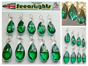 10 CHANDELIER CUT GLASS CRYSTALS OVAL DROPS PEACOCK GREEN DROPLETS VINTAGE STYLE