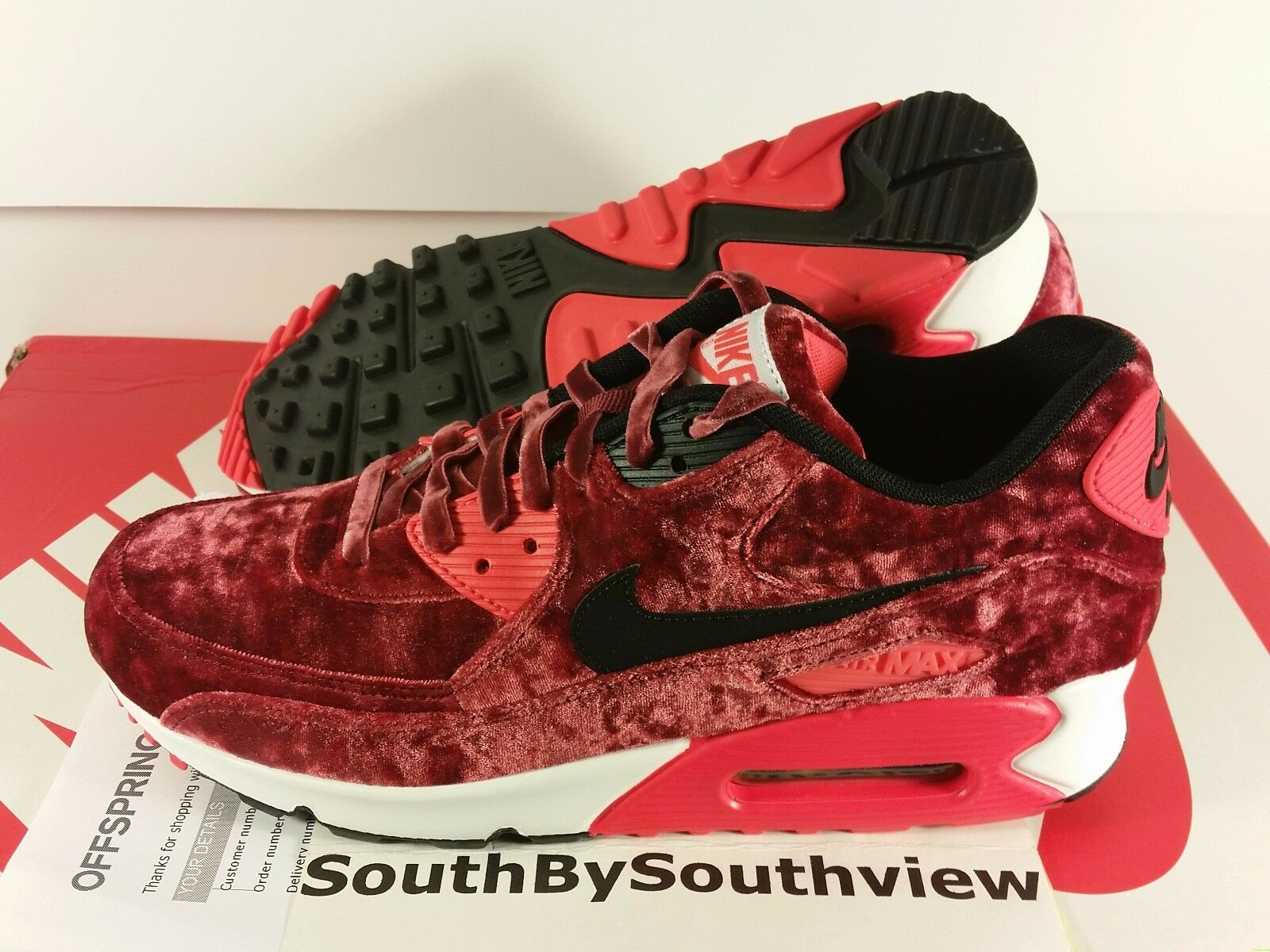 Nike Air Max 90 Red Velvet With Receipt 25th Anniversary Infrared 725235-600 DS