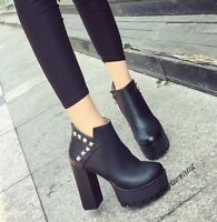 Womens PU Leather Punk Zipper Block High Heel Platform High Top Ankle Boots Size