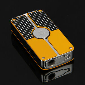 COHIBA-Yellow-Classic-3-Torch-Jet-Flame-Cigar-Lighter-W-Punch-New-Design