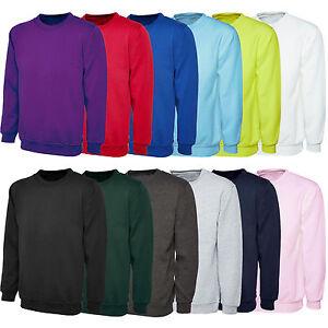 Mens-Plain-Classic-Sweatshirt-Sweater-Jumper-Top-Casual-Work-Leisure-Sport-S-XXL