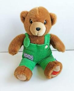 1999-Eden-Corduroy-Teddy-Bear-Plush-11-034-Green-Overalls-Vintage-Excellent-HTF