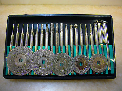 25 pieces THK Diamond coated rotary burrs points & cutting wheel blade disc set