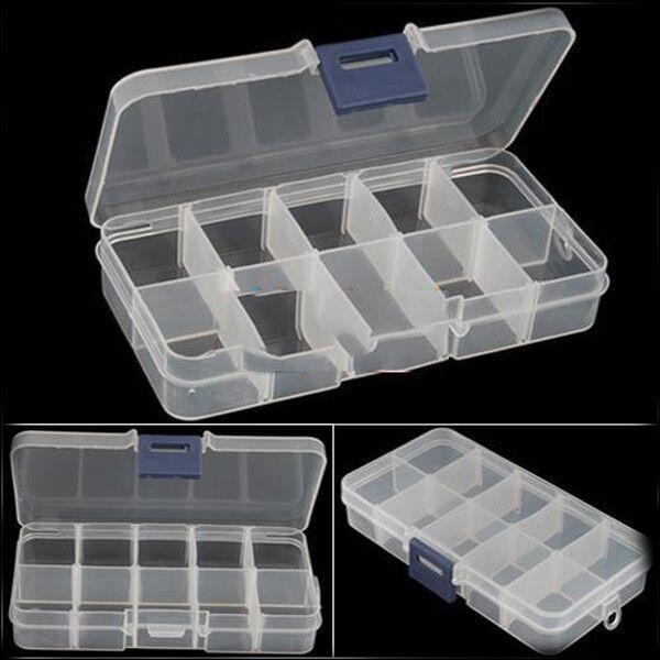 Trendy Design Empty Storage Case Box 10 Cells for Nail Art Tips Gems  JR
