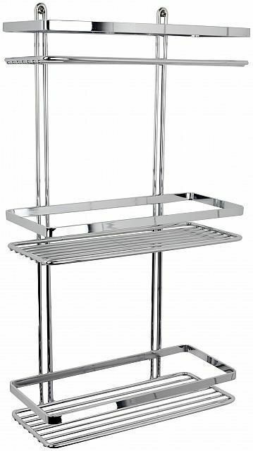 Shower Bathroom Caddy Rack Organizer Basket Rectangular Chrome 3 ...