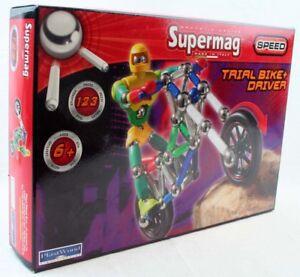 Supermag Magnetspielzeu<wbr/>g Trial Bike Driver Plastwood 0425
