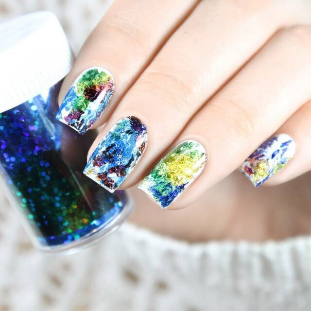 New Gradient Starry Sky Nail Foil Blue Holographic Paper Nail Art