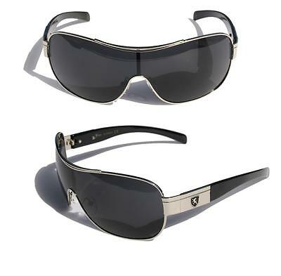Mens Shield Sunglasses Rectangular Wrap Around Fashion Shades