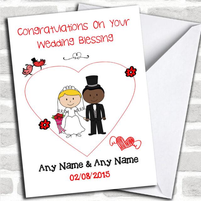 Cute Doodle Black Bride White Groom Personalised Renewal Of Vows Greetings Card