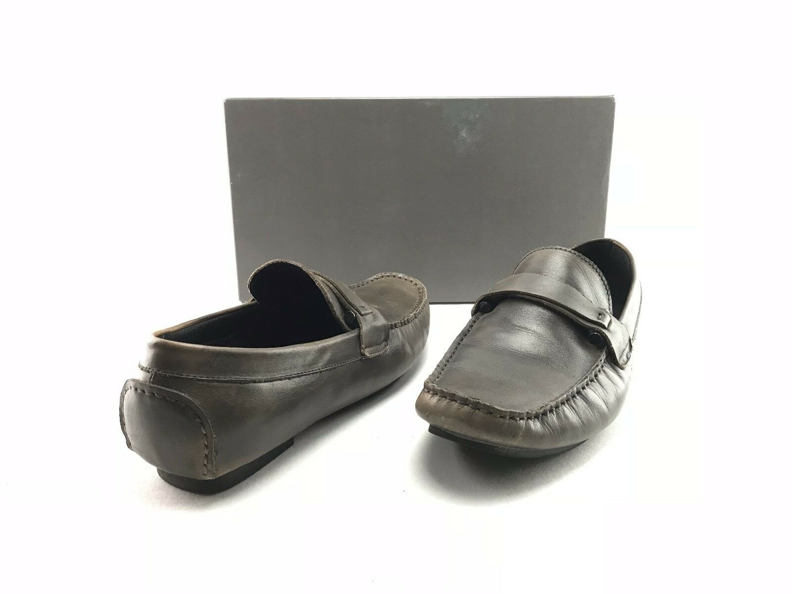 Kenneth Cole Reaction Bad-Ge Mens Gray Leather Slip-On Loafers US 8 M Shoes A759