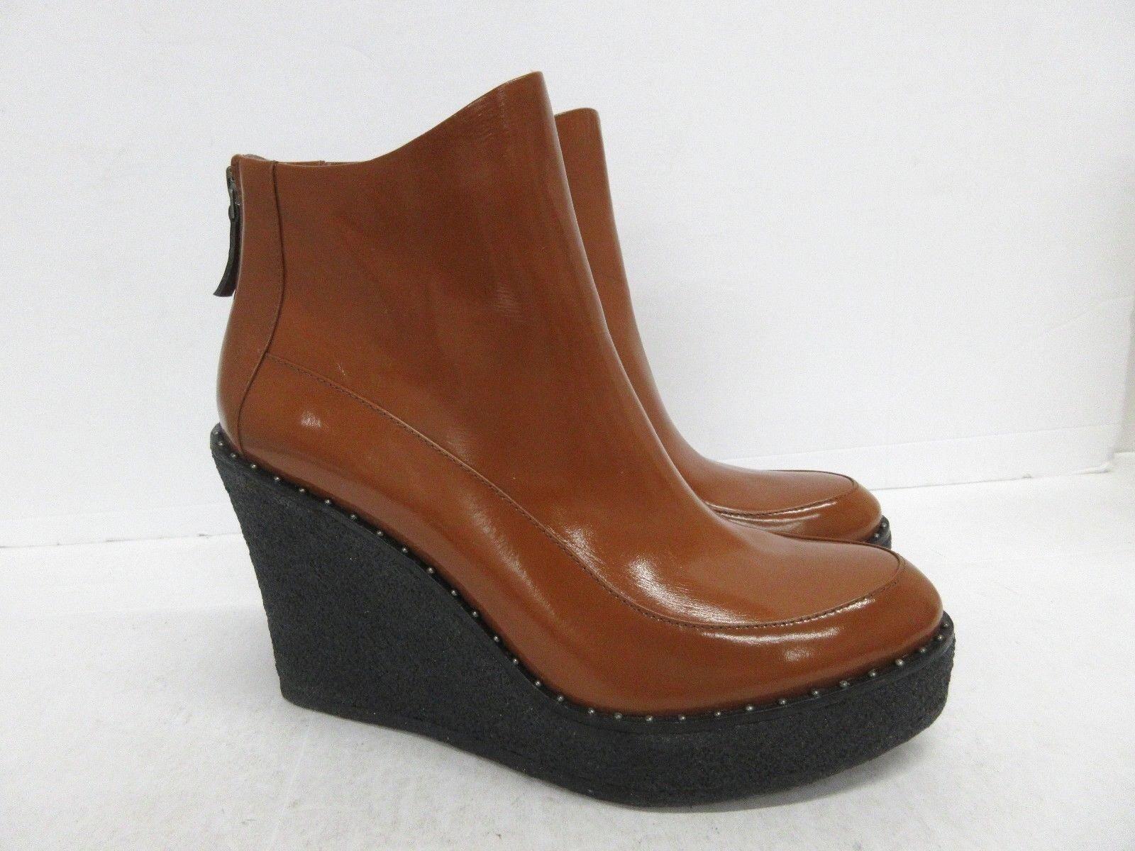 Neu  Herve Leger Cognac Patent Leder Keil Knöchel Stiefel Größe  40 Eu (10 US)