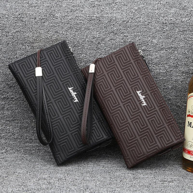 Image 01 - Large Capacity Mens Leather Wallet Long Zipper Clutch Purse Card Holder Handbag