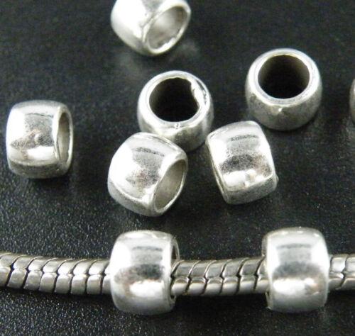 200pcs Tibetan Silver Smooth Big Hole Bead Spacers 7x5mm 12014
