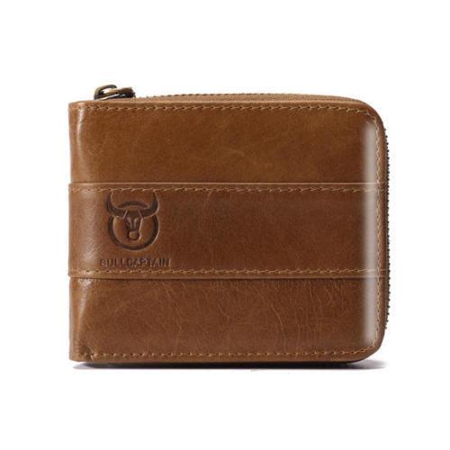 Men Vintage RFID Antimagnetic Genuine Leather 11 Card Slots Coin Bag Zip Wallet