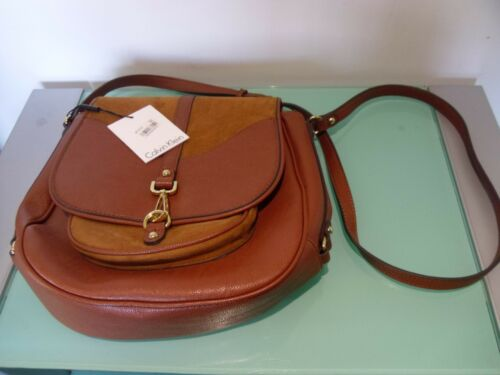 Handbag Brand New Leatheramp; With Suede~ Tags Calvin Klein Brown PkiXZuwOT