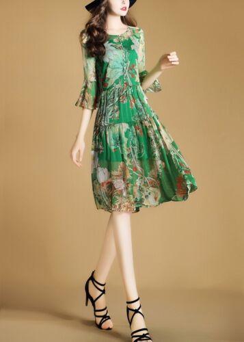 Elegante Scollato Vestito Abito Corto 3742 Raffinato Fiori Scampanato Verde rq0Crg