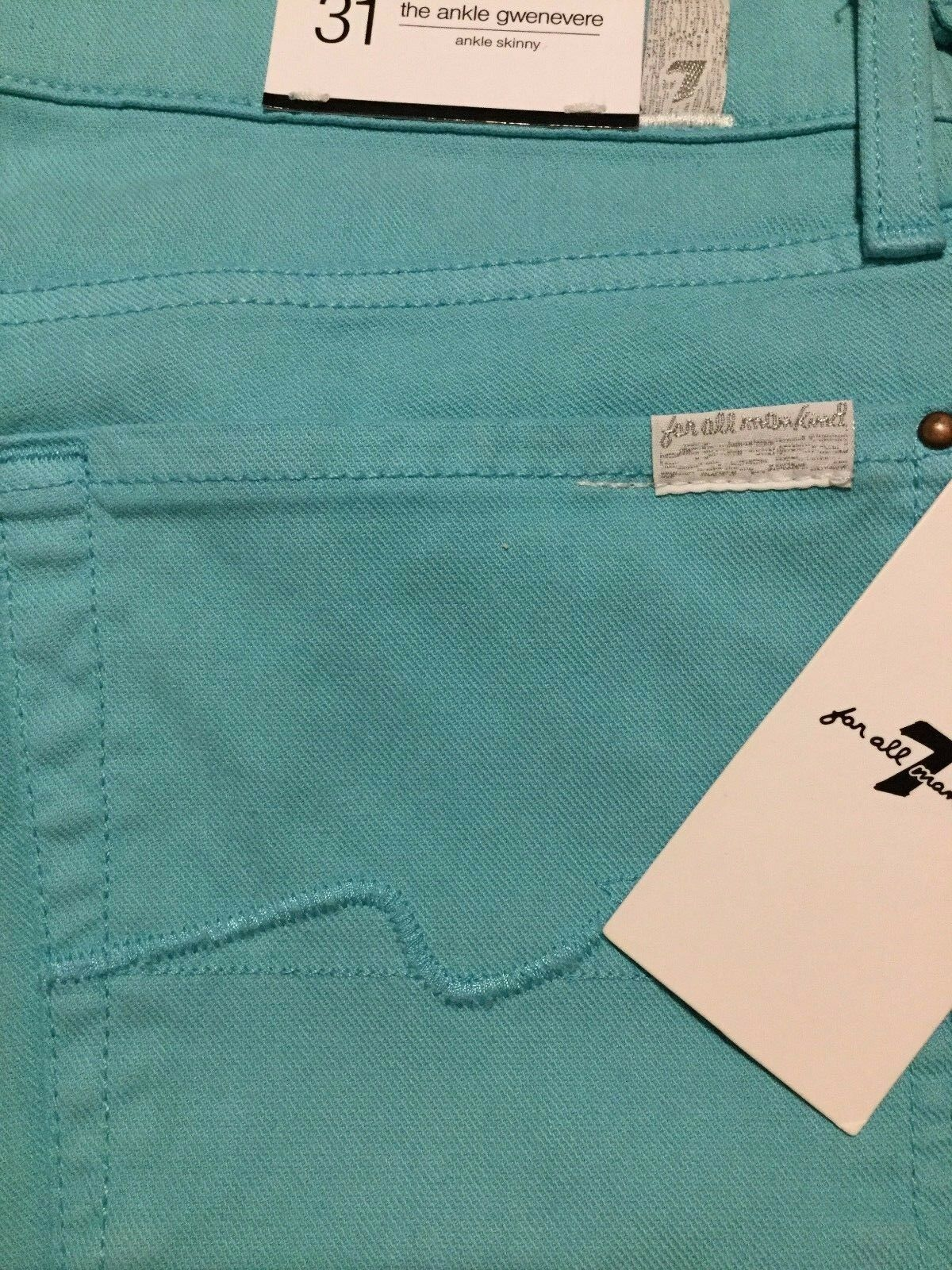 189 NWT 7 FOR ALL MANKIND Sz31 GWENEVERE ANKLE SKINNY STRETCH JEANS SEGN GREEN