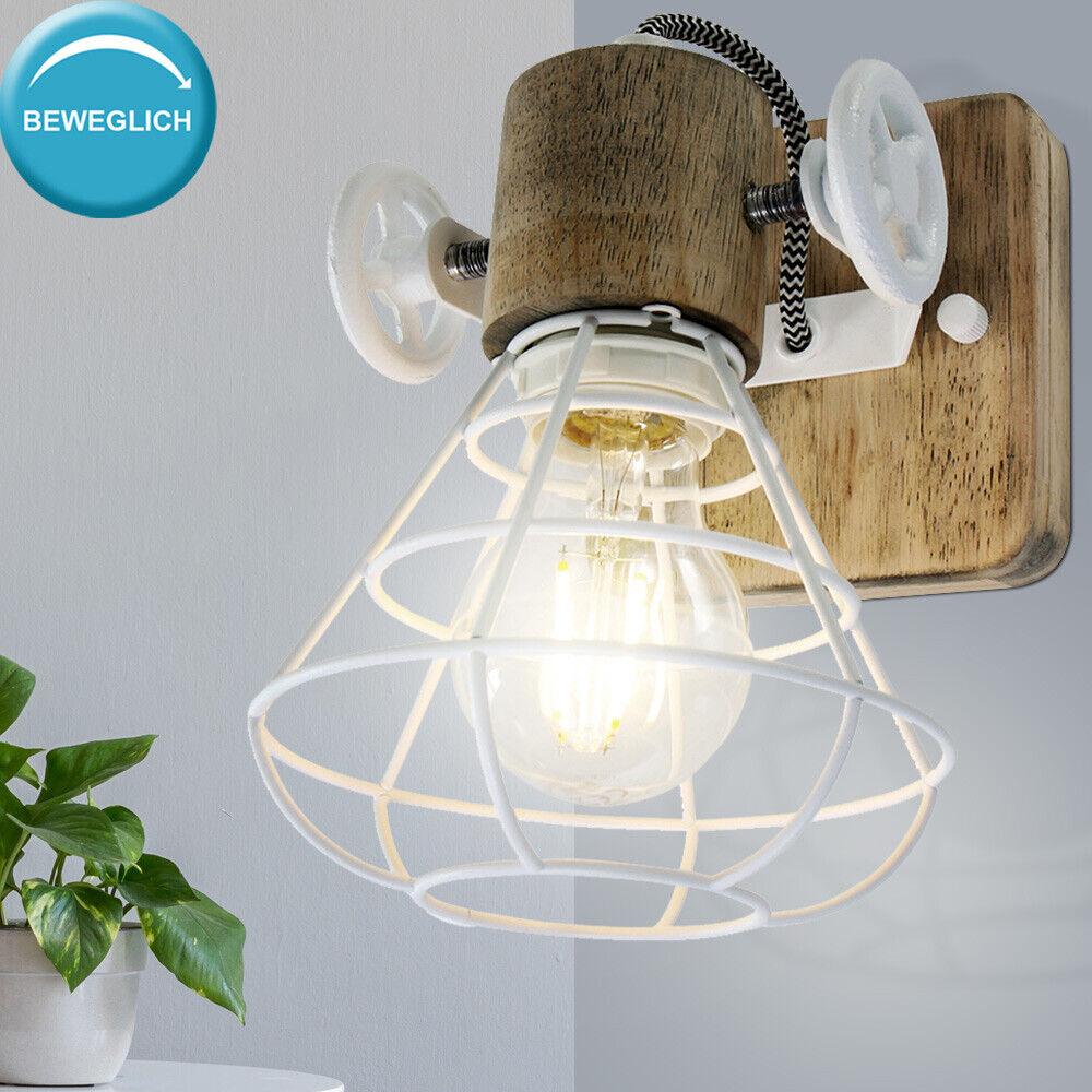 Retro Wand Lampe Wohn Zimmer Beleuchtung  Holz Spot Käfig Leuchte verstellbar