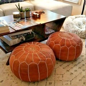 Set Of 2 Leather Poufs Ottoman Luxury