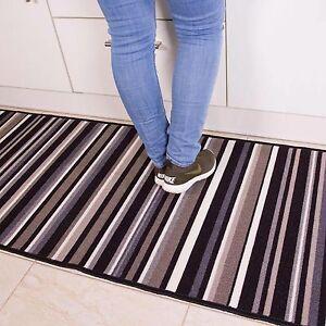 New-Black-Grey-Retro-Stripey-Trendy-Non-Slip-Kitchen-Runner-Mat-Washable-Rubber