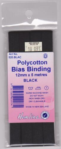 12mm Black Polycotton Bias x 5 metres