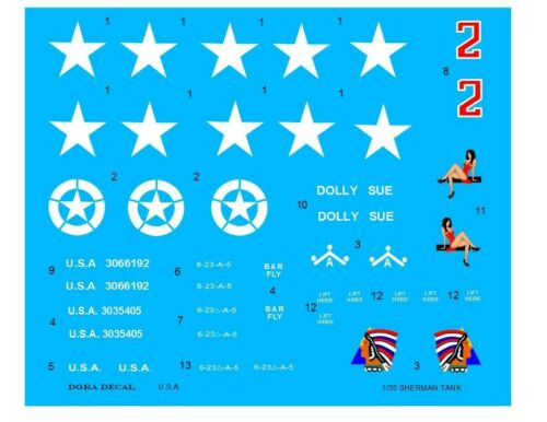 1//35 Sherman Tank Decals for M4 M4A3 WWII 3 complete Tanks