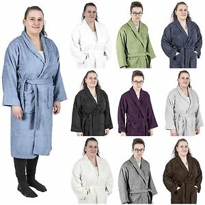 42a97ed1f4 Image is loading Men-Women-Shawl-Collar-Bathrobe-Egyptian-Cotton-Terry-