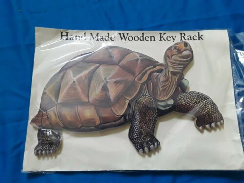 HAND MADE WOODEN GIANT TORTOISE KEY RACK