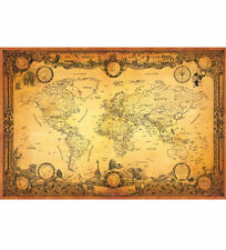 NEW ANTIQUE STYLE WORLD MAP / VINTAGE MAP / GLOBE / ATLAS / OLD WORLD MAP