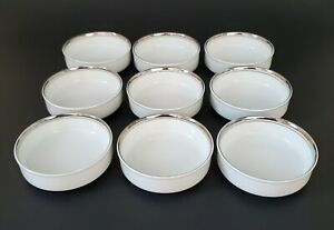 Fukagawa Arita Platinum Coaster Sauce Bowl Made in Japan White Set of Nine (9)