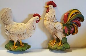 Large-Vintage-Homco-Rooster-Hen-Chicken-Plastic-Wall-Plaques-Farm-Decor