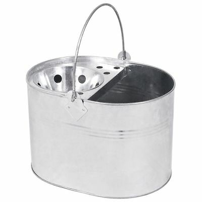 14L Litre Mop Bucket Galvanised Metal Heavy Duty Cleaning New By Home Discount