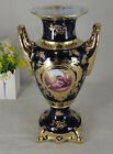 Limoges Style Flower Vase   in Cobalt Blue & Gold Romance Design -12